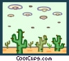 Vector Clipart graphic  of an aliens landing in the desert