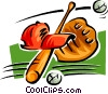 Vector Clipart image  of a bat, ball, glove and hat