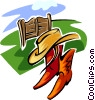 Vector Clipart picture  of a ranch design with hat and