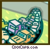 traffic merging into a tunnel Vector Clip Art graphic