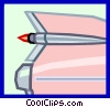 Vector Clip Art picture  of a tailfin from a 50's car