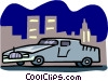 Vector Clip Art graphic  of a limo at night