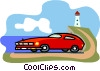 Vector Clipart graphic  of a sports car at the beach