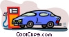 car getting a fill-up Vector Clipart illustration