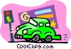 Vector Clip Art image  of a car at a stop light