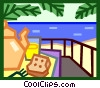 Vector Clipart graphic  of a morning breakfast at the beach