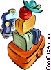 Vector Clipart graphic  of a luggage with taxi - travel