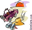 Vector Clip Art graphic  of a Travel design with safari jeep
