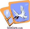 dove with computer disk flying through window Vector Clip Art image