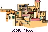 Vector Clip Art image  of a Mediterranean architecture