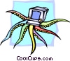 octopus computer concept Vector Clip Art graphic