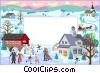 Vector Clipart graphic  of a Text aid backdrop/winter scene