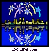 Vector Clip Art graphic  of a Fireworks over the city