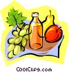Vector Clipart graphic  of a juice and fruits