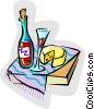 Vector Clipart image  of a wine and cheese