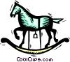 Vector Clip Art graphic  of a rocking-horse