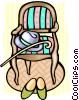chair, hat, cane and slippers Vector Clip Art picture