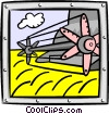 Vector Clipart graphic  of a wheat harvester