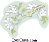 Vector Clipart image  of a tree branch with blossoms