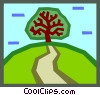 Vector Clipart graphic  of a tree at end of path
