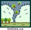 Vector Clipart picture  of a tornado sucking trees