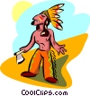 Vector Clip Art graphic  of a old world native Indian