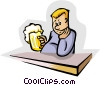 Vector Clip Art picture  of a drinking a beer