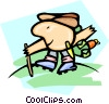 Vector Clip Art graphic  of a hiker