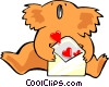 Vector Clip Art image  of a koala bear with love letter
