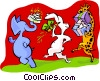 Vector Clipart picture  of a party animals