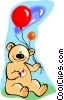 Vector Clipart image  of a teddy bear with balloons