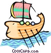 Vector Clip Art graphic  of a Viking sailing ship