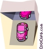 Vector Clipart picture  of an automobiles being off-loaded
