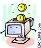 Vector Clip Art picture  of a computer with coins concept