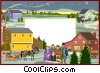 Vector Clip Art image  of a text aid backdrop winter scene