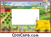 text aid backdrop/summer scene Vector Clipart illustration