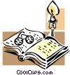 book, candle and glasses Vector Clipart graphic