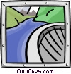 Vector Clip Art graphic  of a dam and river