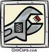 Vector Clipart graphic  of a microchip and wrench