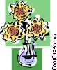 Vector Clipart image  of a daisies in vase