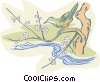 bird on tree above stream Vector Clipart illustration