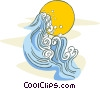 Vector Clipart graphic  of a surf and sun