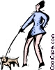 Vector Clipart graphic  of a woman walking dog