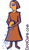 Vector Clip Art image  of a woman pouring water