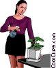 spraying the houseplants Vector Clipart illustration