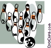Bowling ball and pins Vector Clip Art image