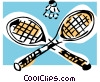 Badminton rackets and birdie Vector Clip Art picture