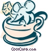 mouse with a coffee and sugar cube Vector Clipart illustration