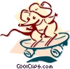 Vector Clipart illustration  of a mouse skateboarding concept