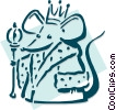 Vector Clipart image  of a mouse king concept - chess